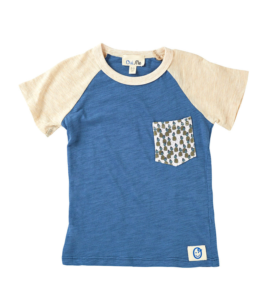 blue t-shirt, boys t-shirt, organic t-shirt, eco-friendly t-shirt, kids clothing, eco-friendly clothing, t-shirt with pocket, raglan t-shirt, cool t-shirt, funky t-shirt
