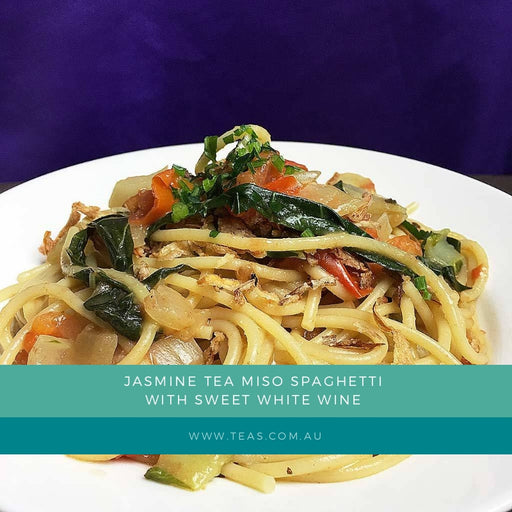 Jasmine Tea Miso Spaghetti with Sweet White Wine