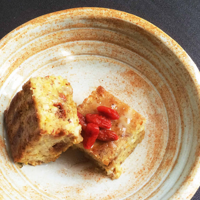 Orange Almond Cake with Goji Berries and Lemon Jasmine Tea Icing