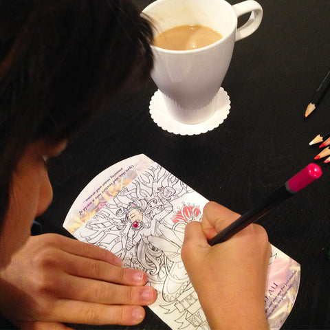 Free Tea Theme colouring in