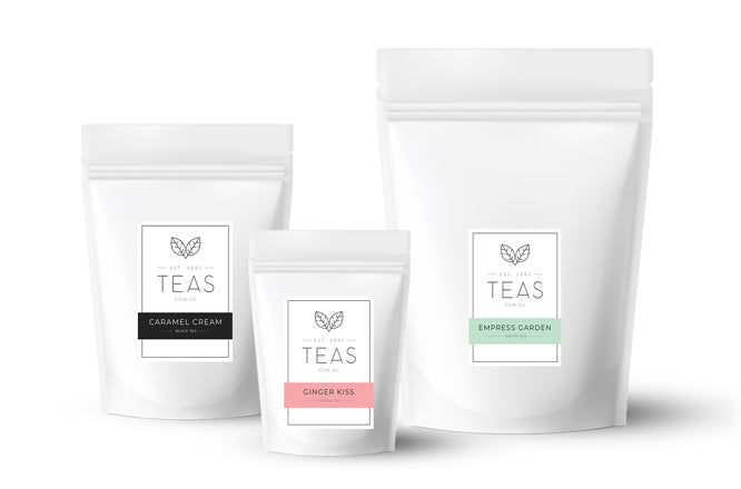 Teas.com.au stand up zip pouch sizes