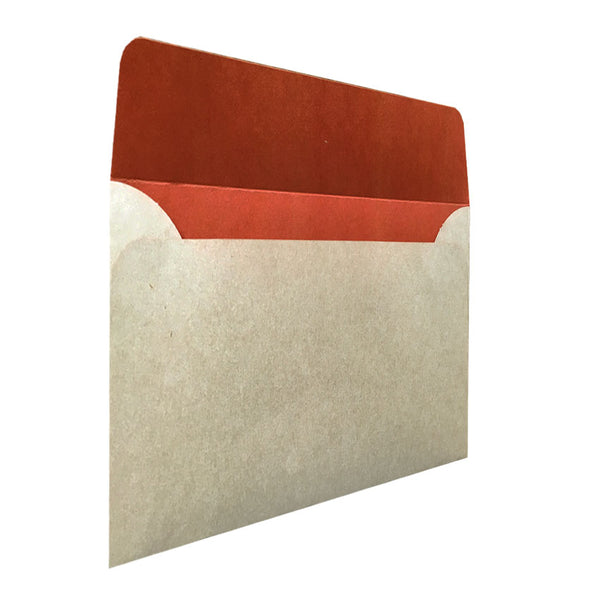 C5 natural kraft envelope with rust colouring inside