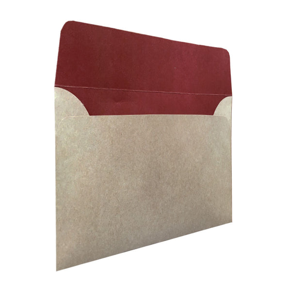 C5 natural kraft envelope with earthy red colour inside