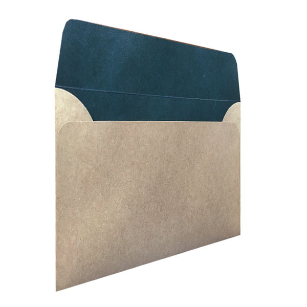 C5 natural kraft envelope with teal colouring inside