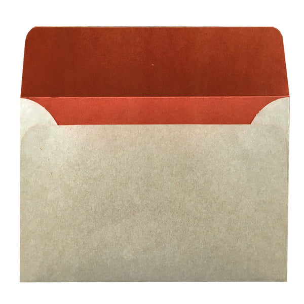 C6 natural kraft envelope with rust colouring inside