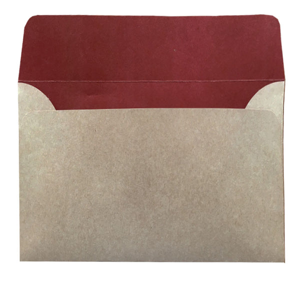 C6 natural kraft envelope with earthy red colouring inside