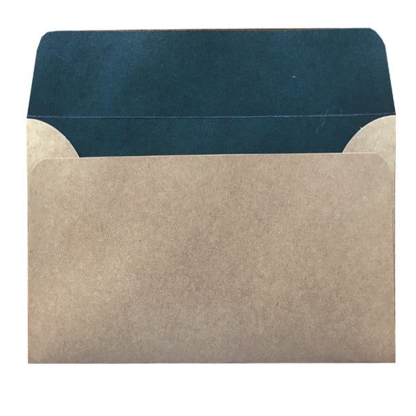 C6 natural kraft envelope with teal colouring inside