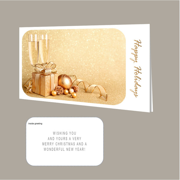 Christmas Card Pack - Gold Champagne