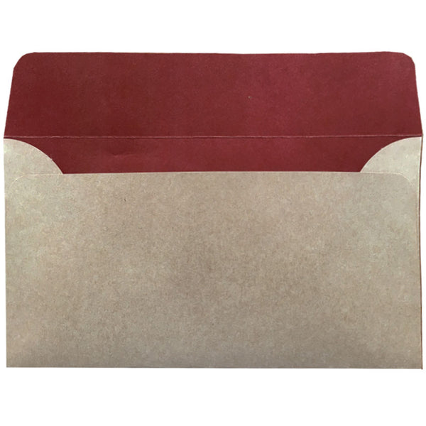 dle natural kraft envelope with earthy red colour inside