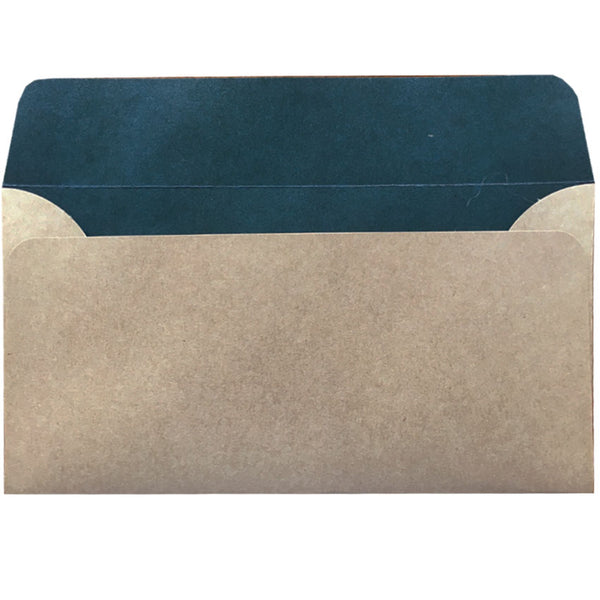 dle natural kraft envelope with teal colouring inside
