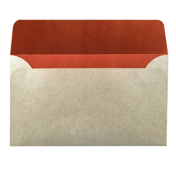 5x7 natural kraft envelope with rust colouring inside