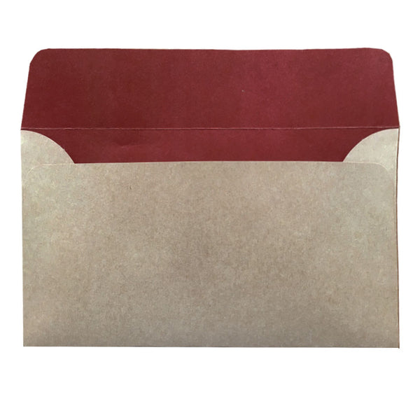 5x7 natural kraft envelope with earthy red colour inside