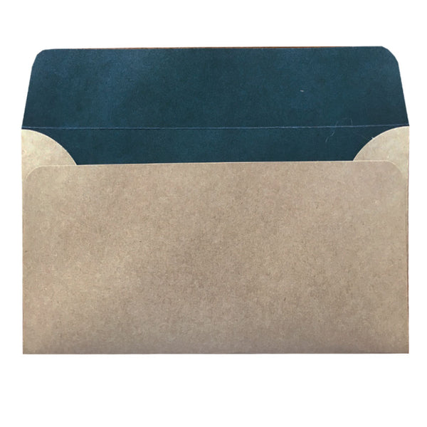 5x7 natural kraft envelope with teal colouring inside