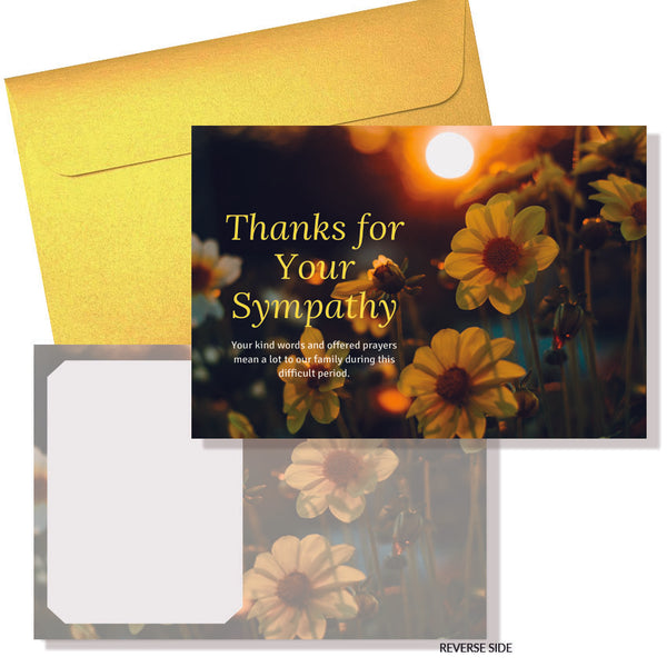 Daffodil Sympathy Cards & Envelopes (10pkt)