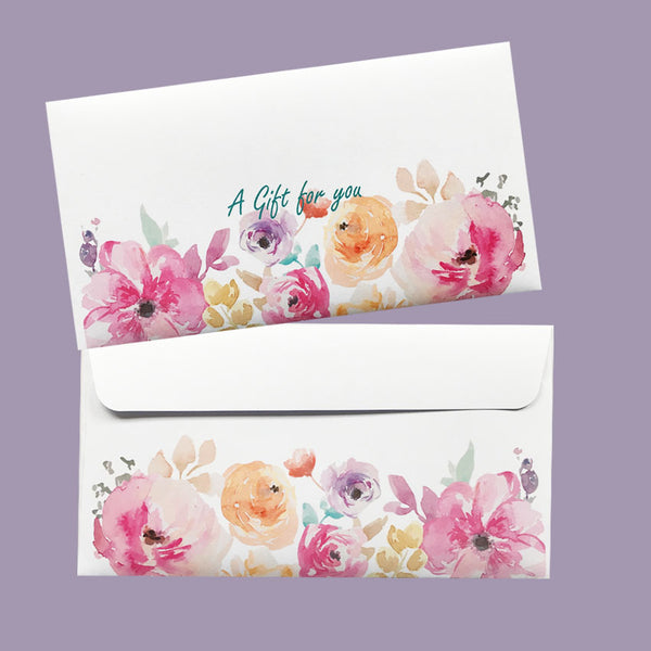 Gift Voucher, Printed Water colour floral DLE envelopes