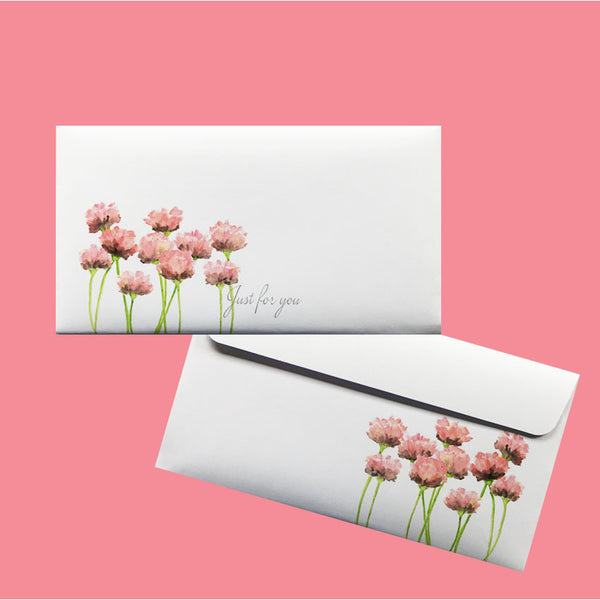 Gift Voucher, coloured floral DLE envelopes