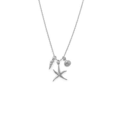 Starfish and Shell Charm Necklace