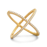 18K Gold Plated Criss Cross 'X' Midi Ring - Inaru Vogue Boutique