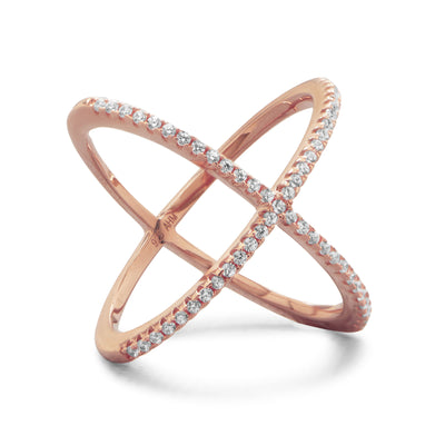 14K Rose Gold Plated Criss Cross Midi Ring - Inaru Vogue Boutique