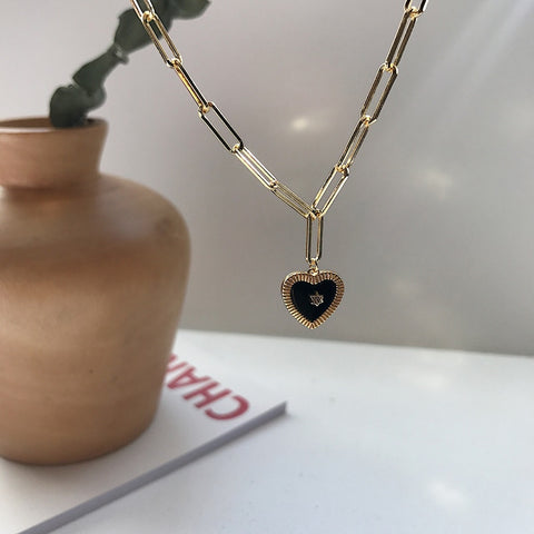 Natural Black Agate Heart Pendant Necklace