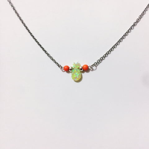 Tropicaleo' Green Opal Pineapple Necklace