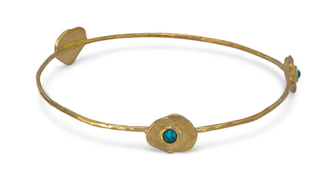Flower Brass and Turquoise Bangle