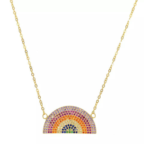 Sterling silver Gold Plated Rainbow Necklace