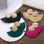 Kirra Fan Rattan Statement Earrings