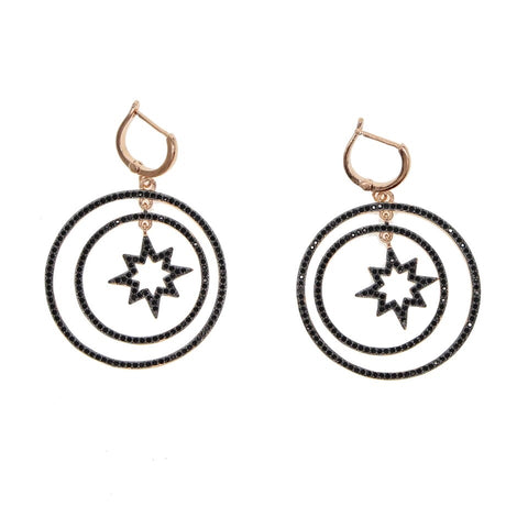 North Star Black Pavè Drop Earrings
