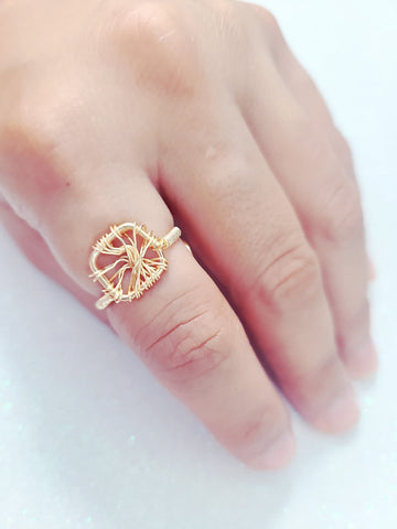 Handmade Square Gold Wire Ring