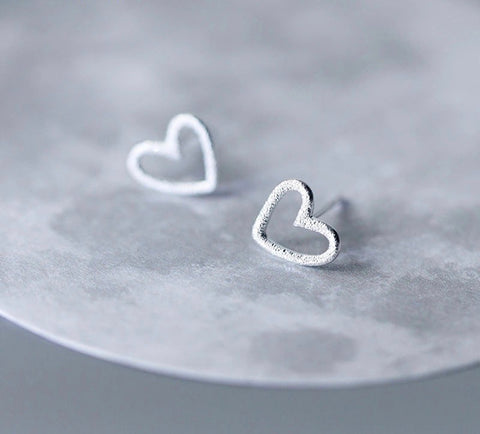 Sterling Silver Hollow Hearts Tiny Studs Earrings