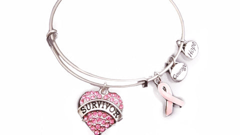 Survivor Pink Ribbon Awareness Bangle Bracelet