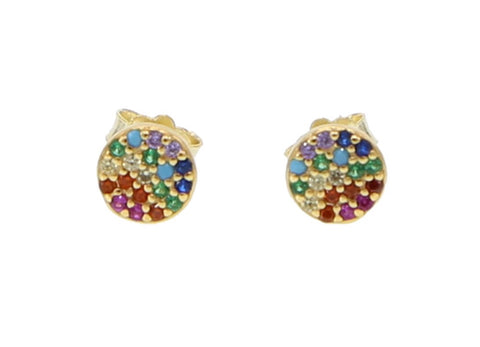 Rainbow Pavé Cz Gold Plated Studs Earrings