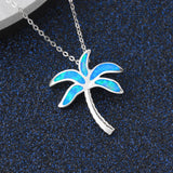 Coconut Tree Blue Opal Necklace