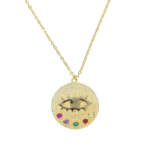 Esin Evil Eye Cz Round Pendant Necklace