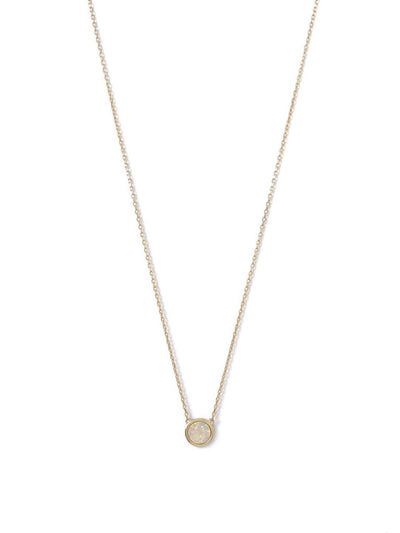 14 Karat Gold Plated Mini Synthetic White Opal Necklace - Inaru Vogue Boutique