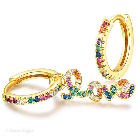 Gold filled Love Pavé CZ Rainbow Huggies Earrings