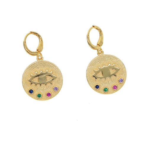 Esin Evil Eye Cz Round Pendants Earrings