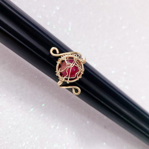 Handmade Agate Gold Wire Ring