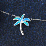 coconut tree 925 silver necklace