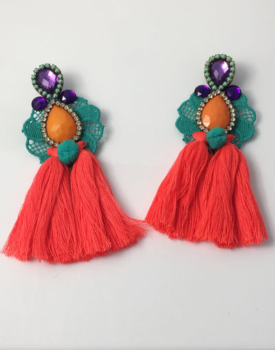 bohemian Night colorful tassel earrings