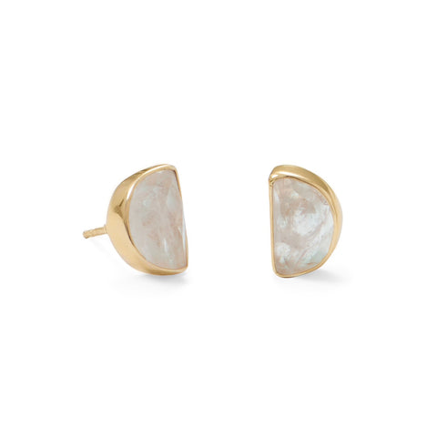 Aine 14 Karat Gold Plated Half Moon Rainbow Moonstone Post Earrings