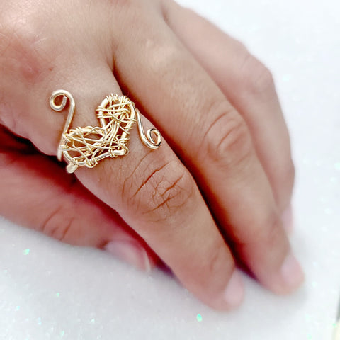 Handmade Wrapped Heart Gold Wire Ring