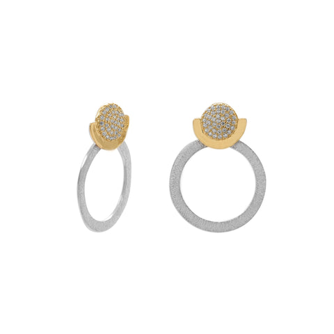 Gaia  Two Tone CZ and Circle Drop Earring