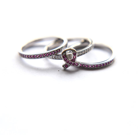 Pink Ribbon Awareness 3 in 1 Ring