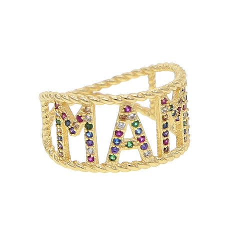 """MAMA"" Micro Pave Gold Plated Ring"