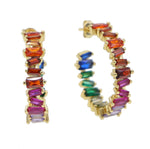 Gold Filled Rainbow Baguette Hoop Earrings