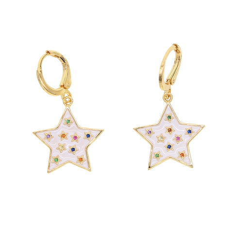 Asteria Gold Plated Enamel Star Huggies Earrings
