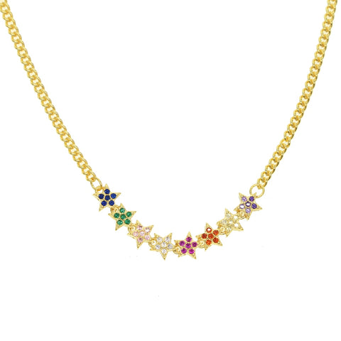 Jalus Gold Filled Rainbow CZ Pavé Star Necklace