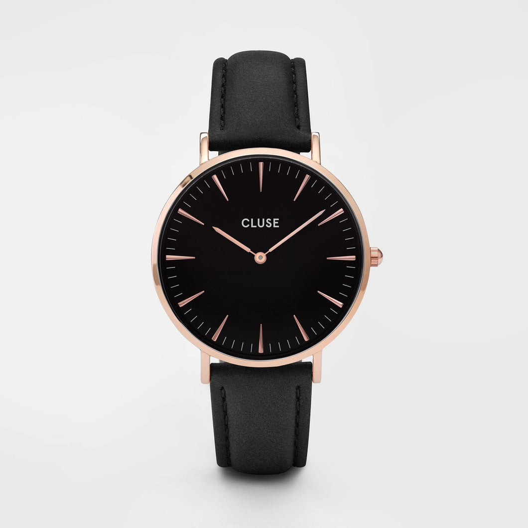 Cluse Watch Black Leather Rose Gold Face